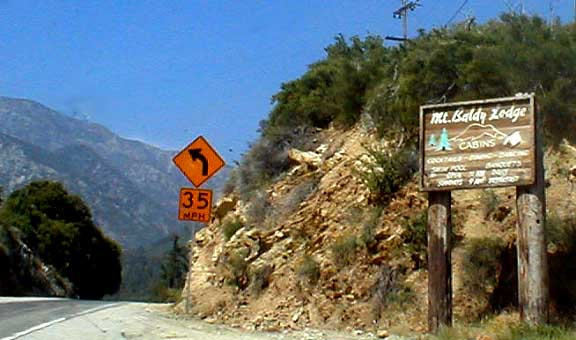 Mt. Baldy Road, and Lodge Sign
